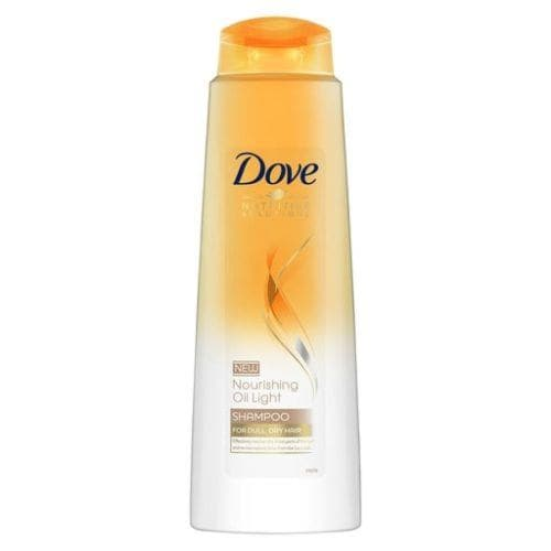 Pack shot of the Dove Nourishing Oil Light Shampoo against a white background