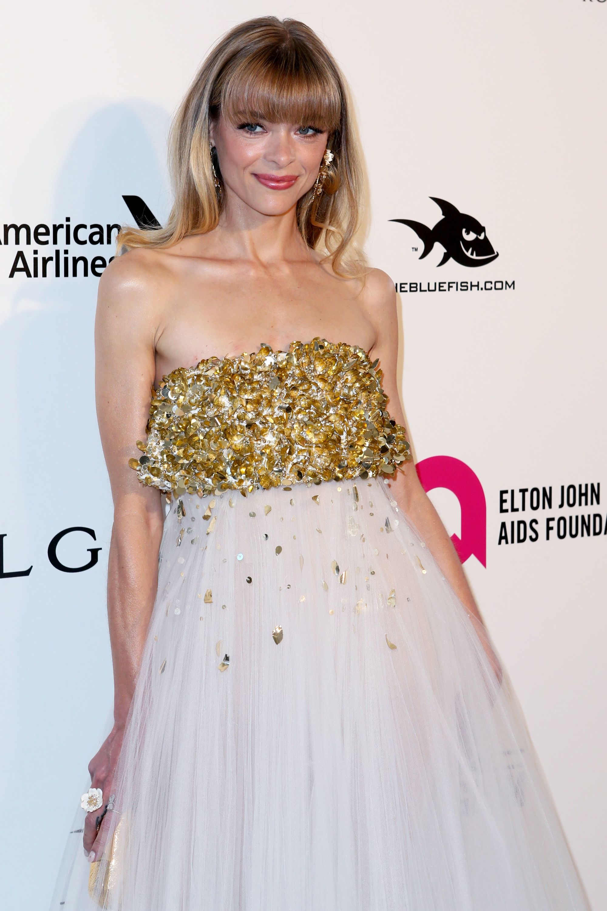 Jaime King long straight hair with full fringe