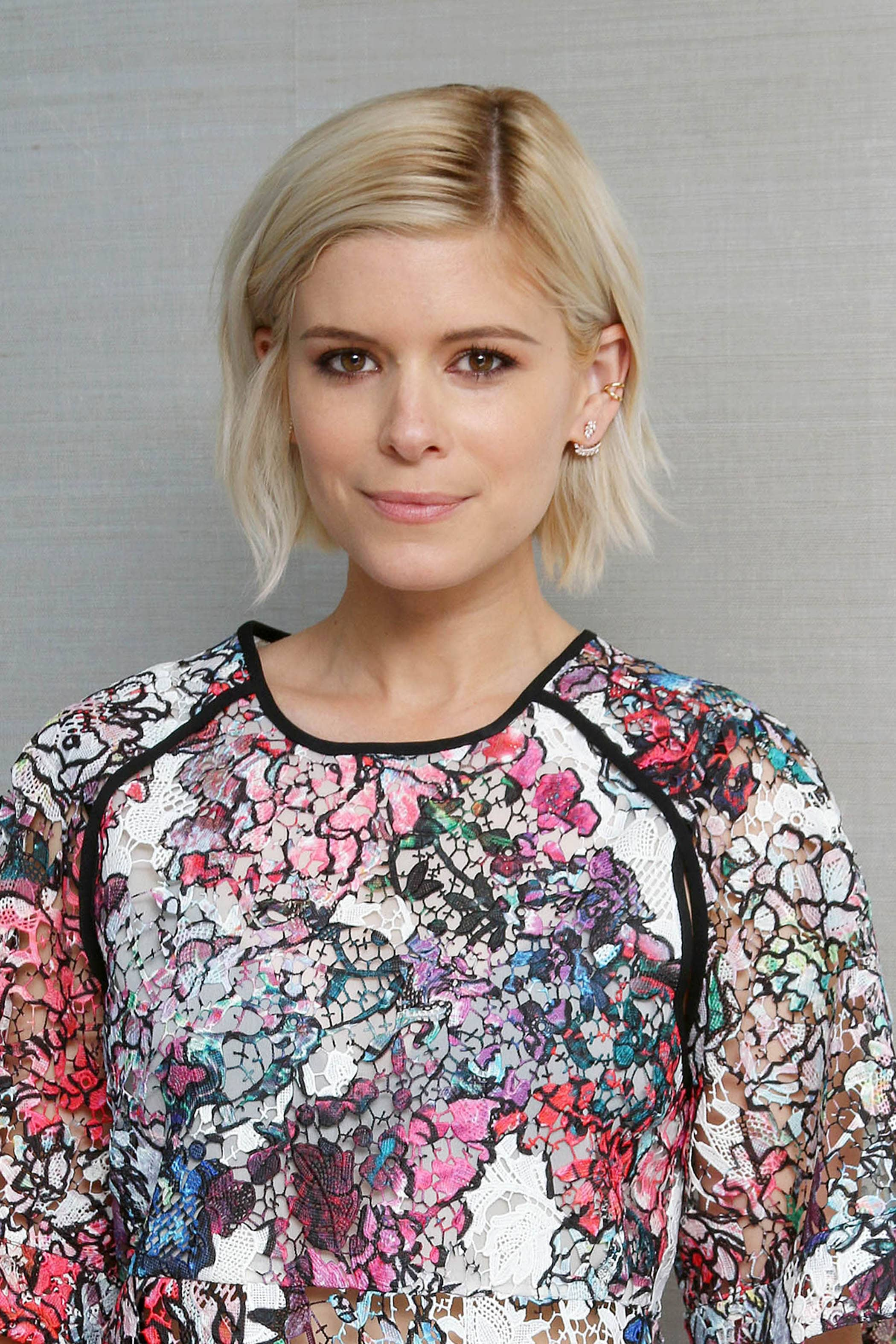 Kate Mara with short blonde choppy bob