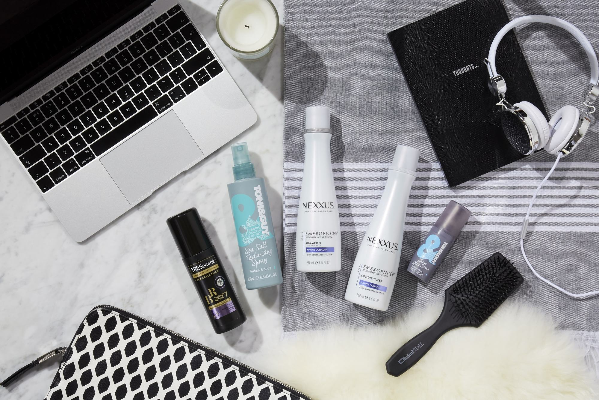 How to Marie Kondo your hair: Flat lay of Unilever products, including Nexxus, Tresemme, Toni&Guy