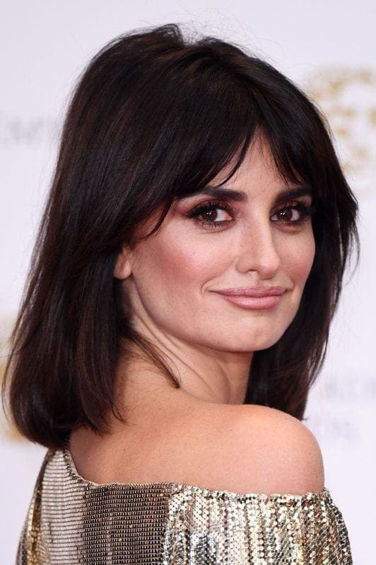 Bob hairstyles for thick hair: Penelope Cruz with thick long bob with Bardot bangs on the red carpet