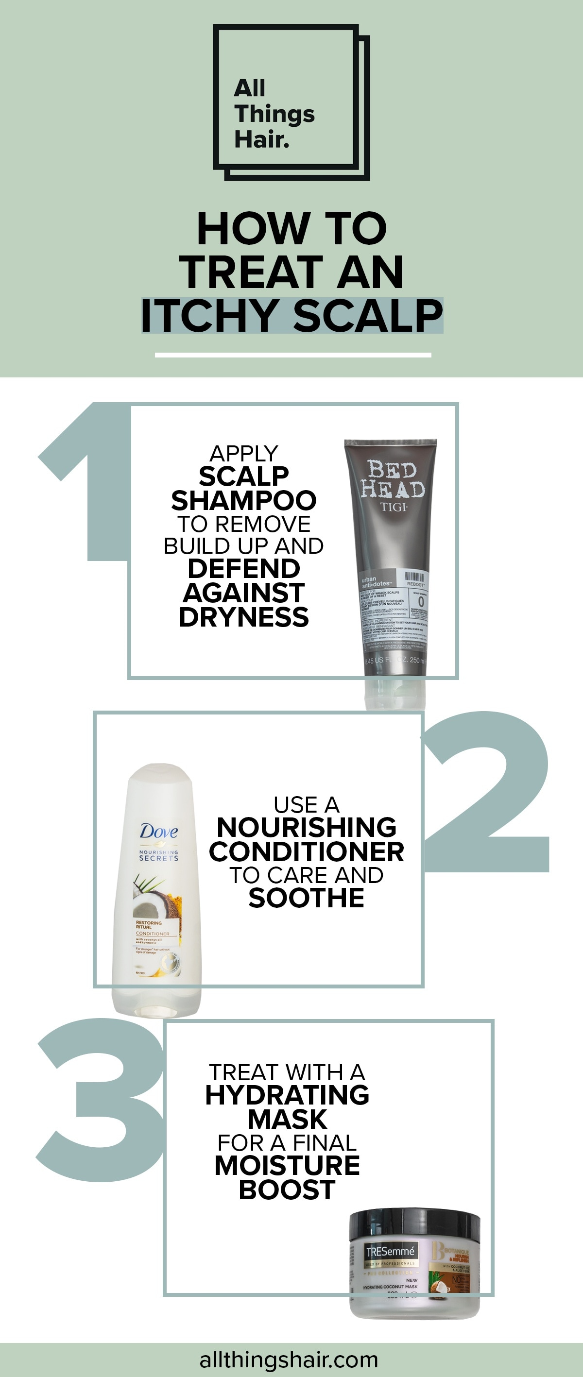 All Things Hair UK infographic of how to treat itchy scalp, with product recommendations