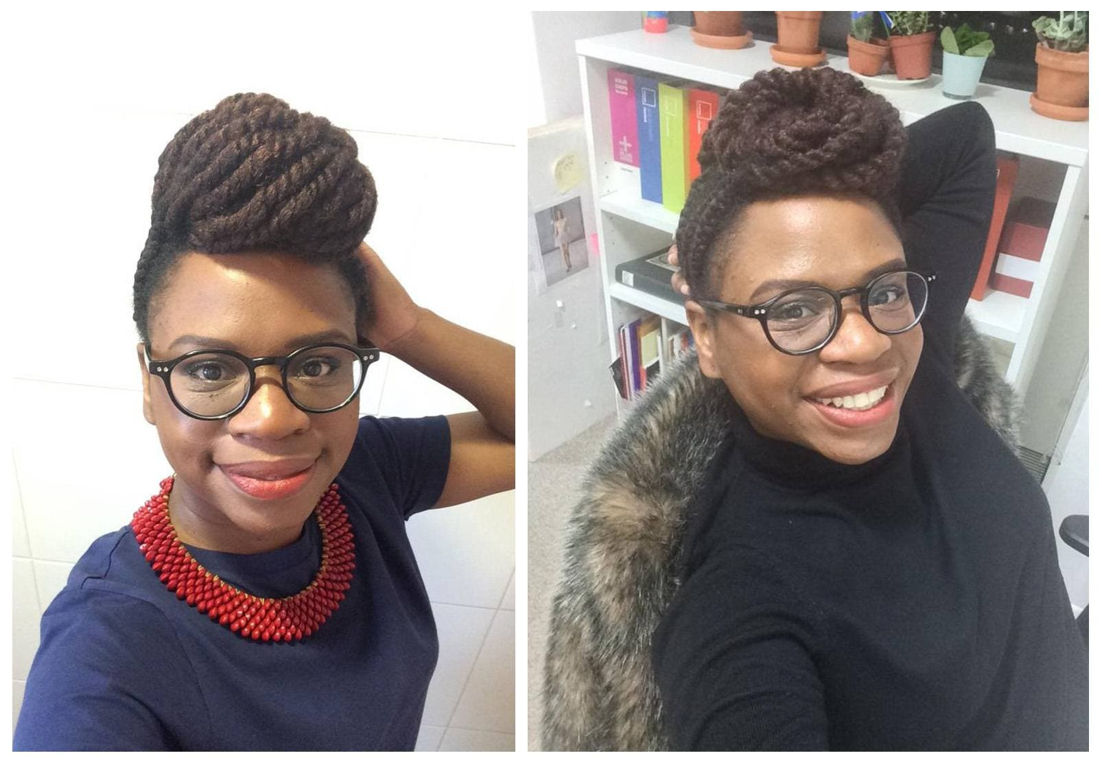 Real Hair Stories Nadia Williams: Young black woman with braided hairstyle wearing glasses