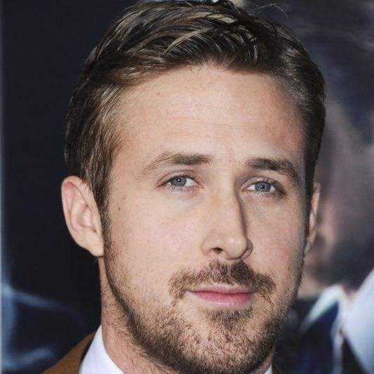 Ryan Gosling with gelled parted hair