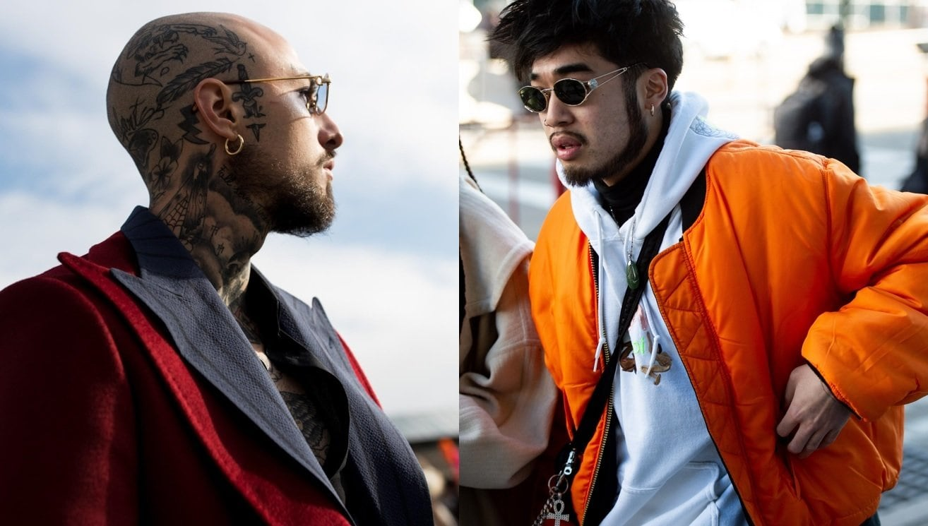 Beard styles guide: Street style shot of two men with chin strap beard styles, both wearing sunglasses and posing outside