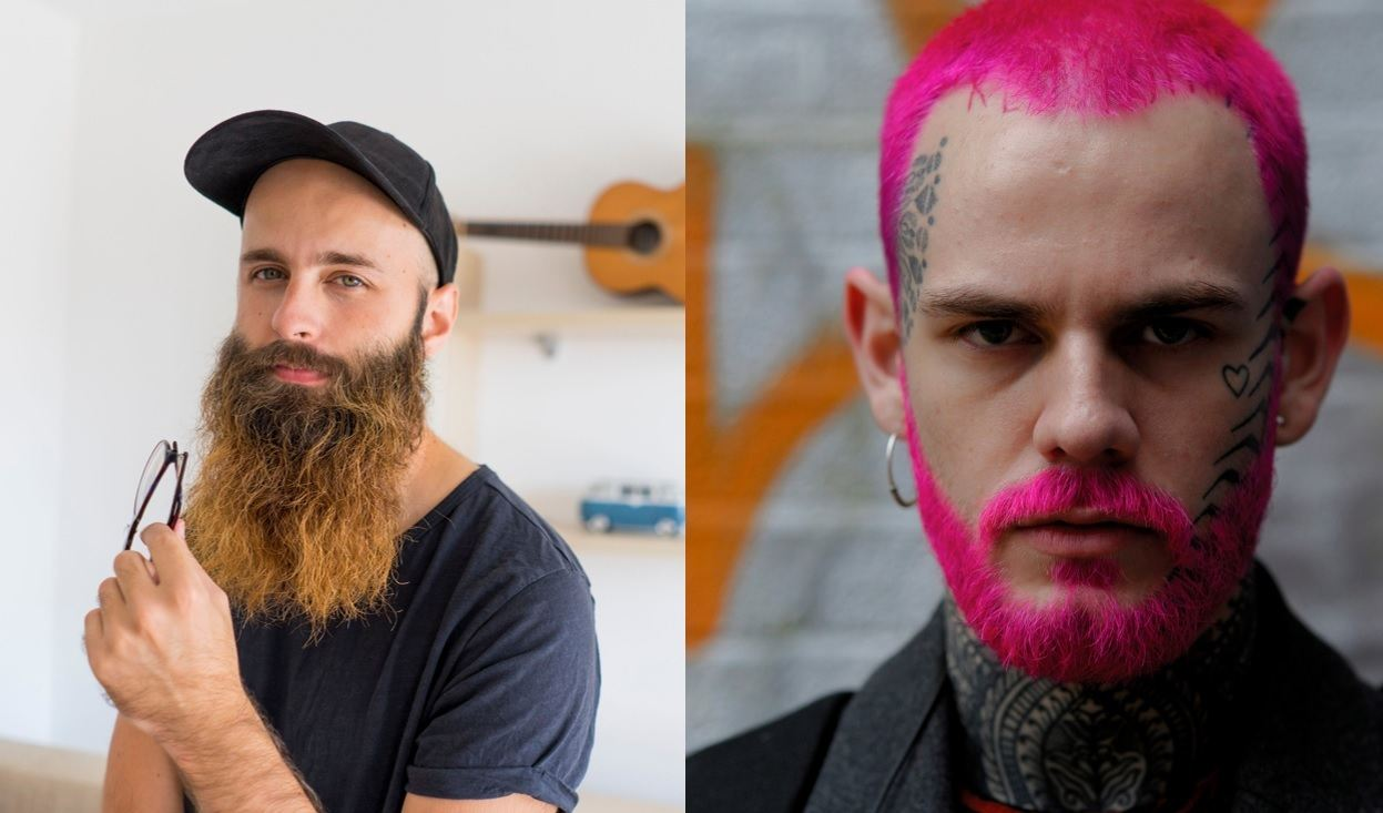 Beard styles guide: Two men coloured beards, posing for photo