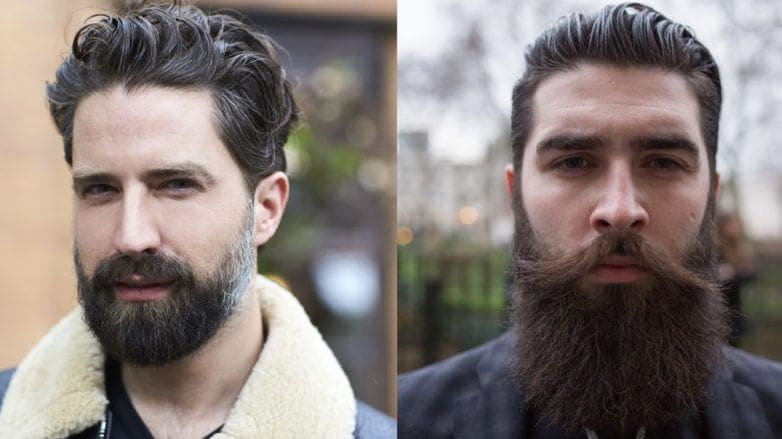 Beard styles: Street style shot of two men with full, thick beards, posing outside