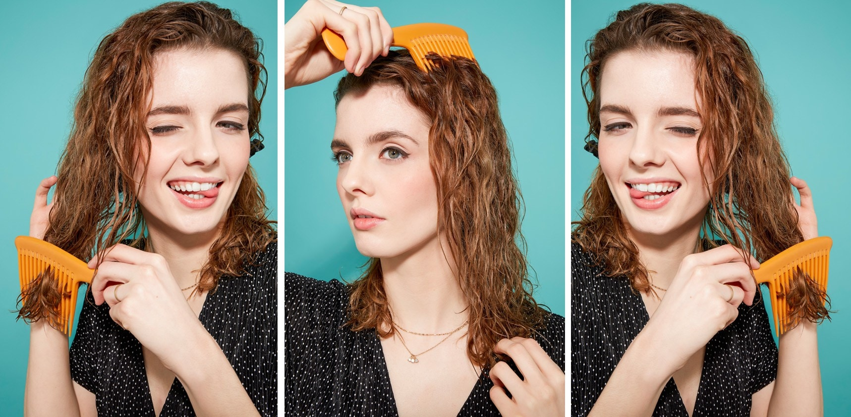 Woman with damp curly auburn hair combing/brushing her hair
