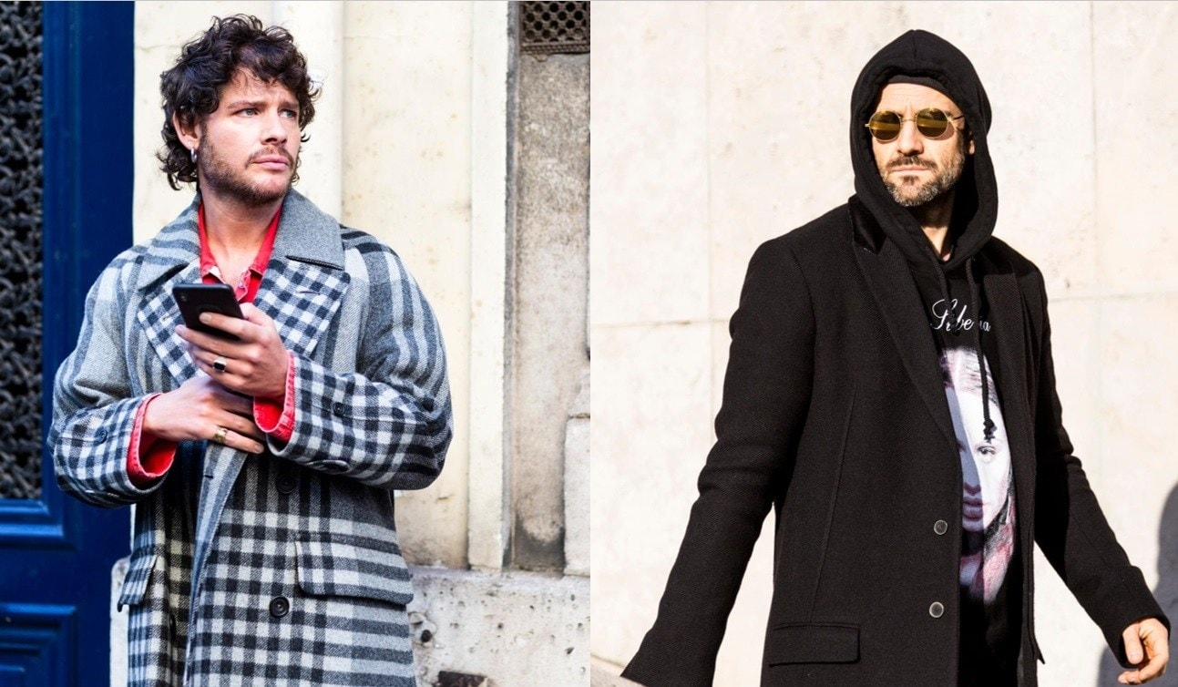 Beard styles: Street style of two men with neat, short beard styles