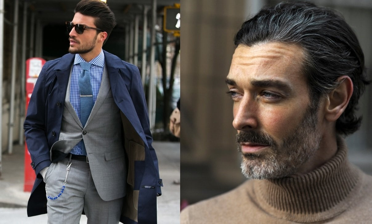 Beard styles guide: Street style shot of two men with smart, short beards