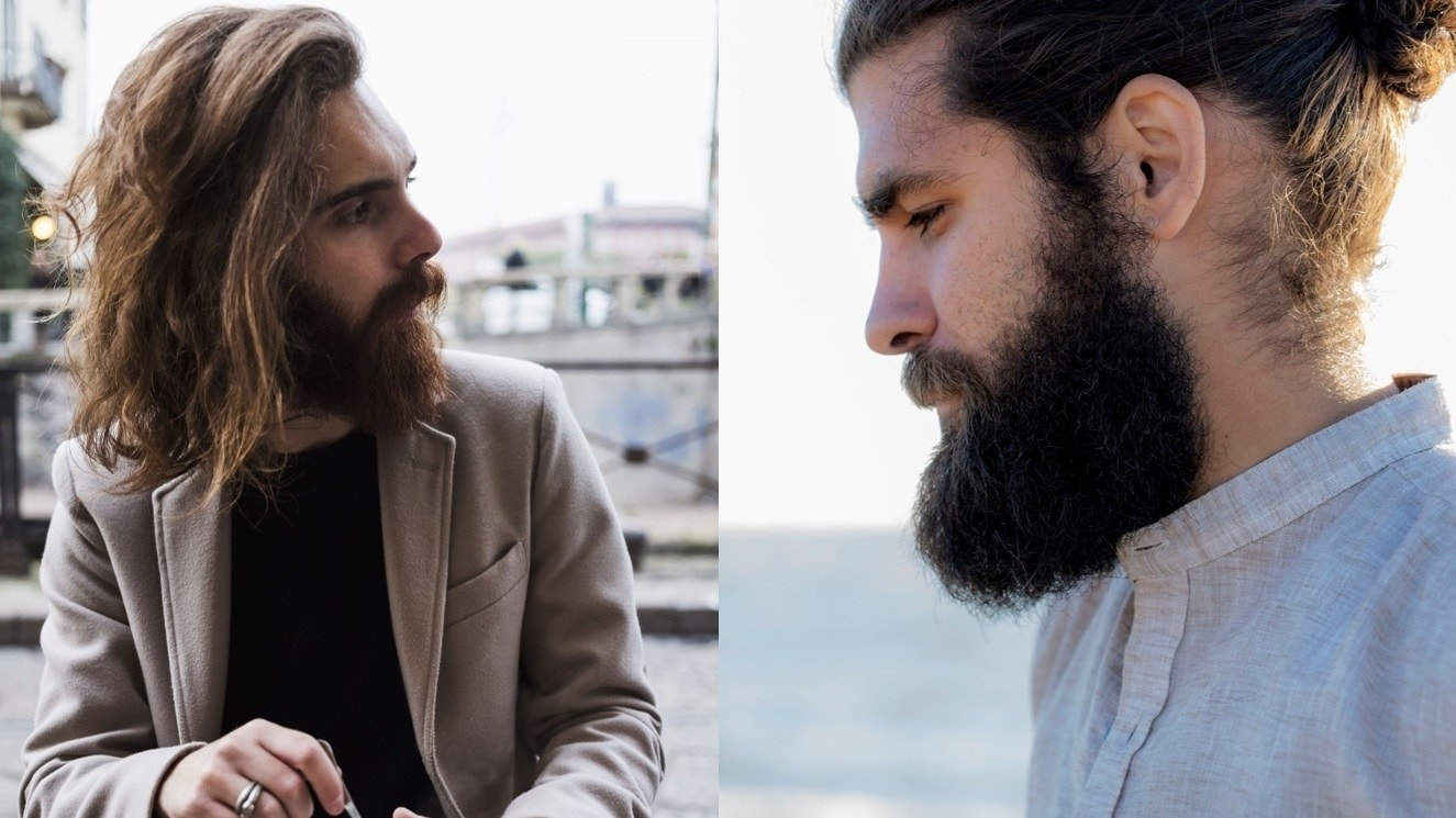 Beard styles: Street style shot of two men with viking style rugged beards, posing