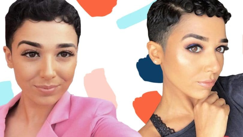 Real Hair Stories collage of Yasmin Ajaj with a short shaved curly pixie cut, wearing a pink blazer and a grey one shoulder top