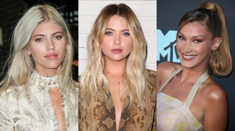 Devon Windsor, Ashley Benson and Bella Hadid with different shades of blonde hair