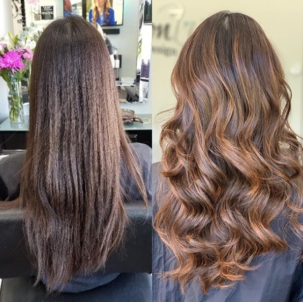 Before and after of a woman with long hair with a brunette balayage