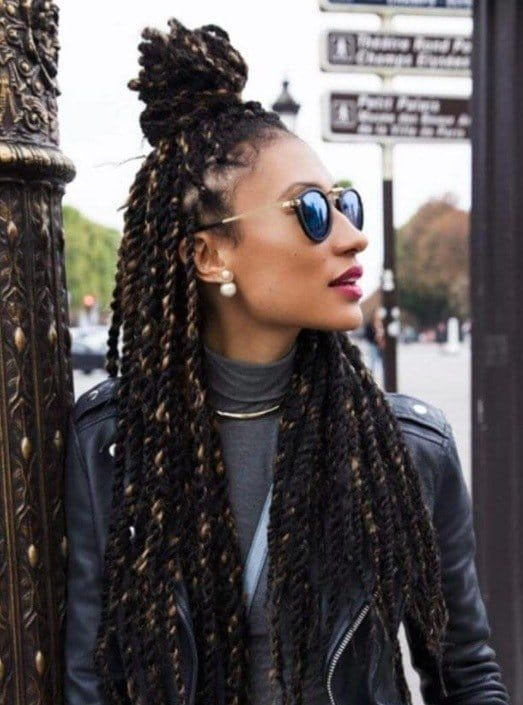 woman with two-toned twisted braids