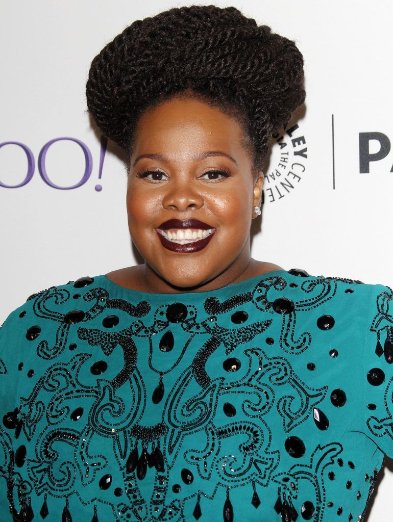 Amber Riley with braided doughnut crown