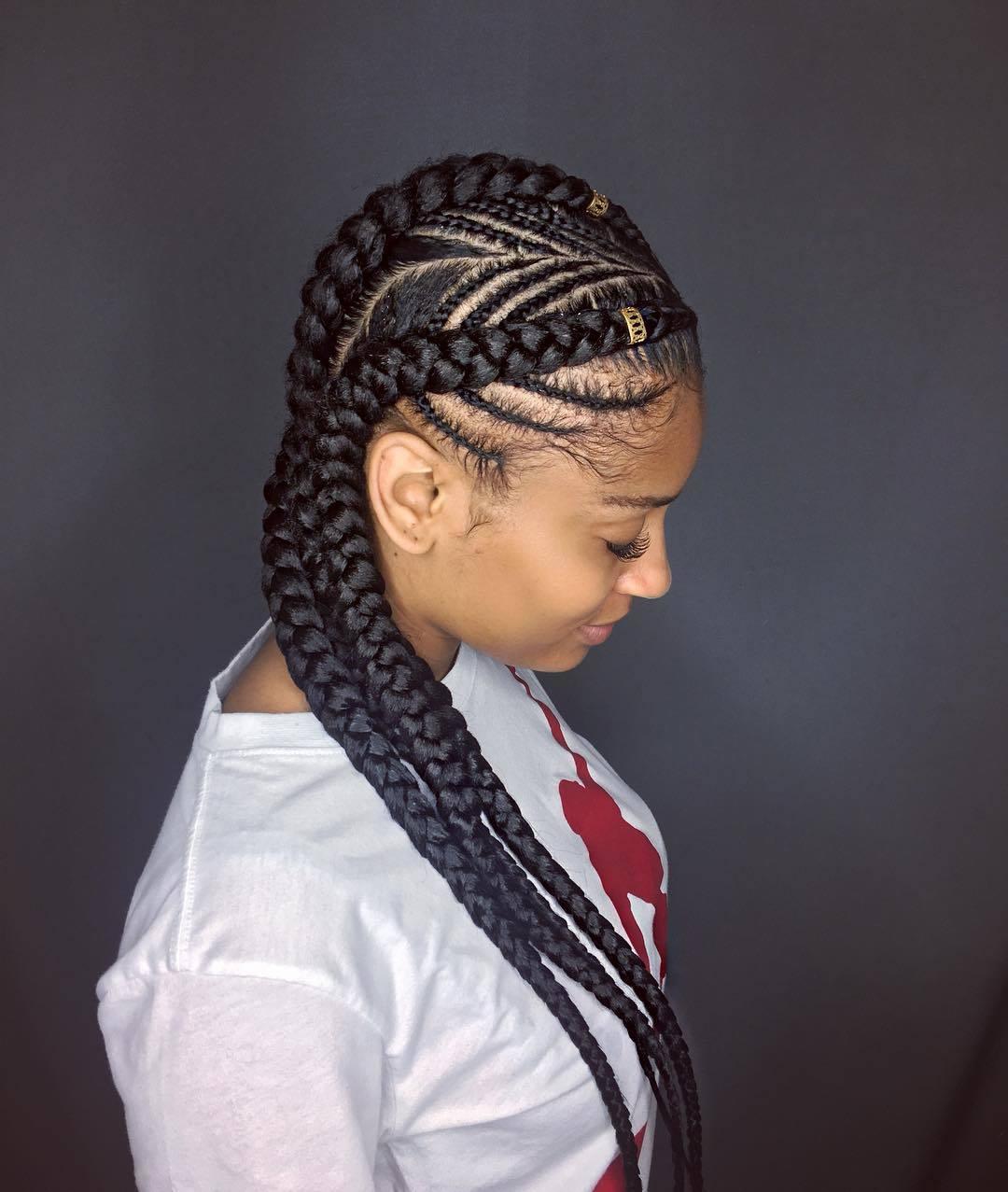 woman with fishbone braid cornrow hairstyle