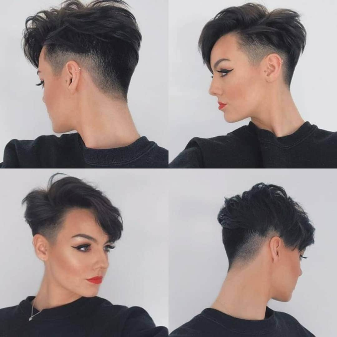 woman with dark brown pixie cut with shaved sides