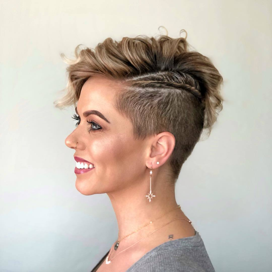woman with golden blonde pixie cut with undercut