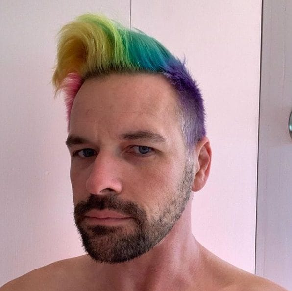 Man with rainbow quiff hair
