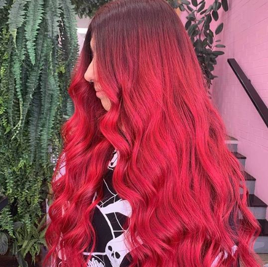 Woman with long red ombre hair