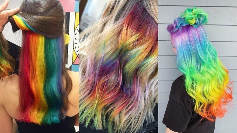 Woman with hidden rainbow hair, woman with rainbow highlights and a woman with bright rainbow ombre in a half-up braid