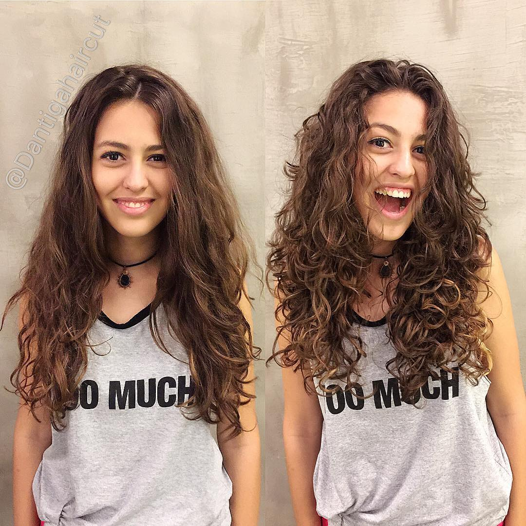 woman with wavy hair before and after it has been permed