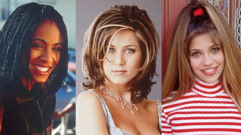 Image of three popular '90s hairstyles