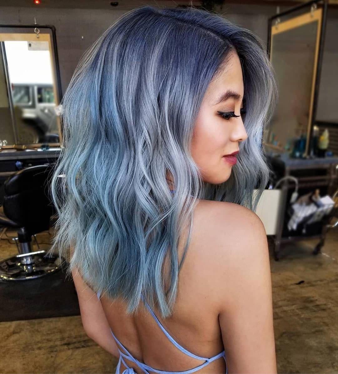 woman with wavy denim hair