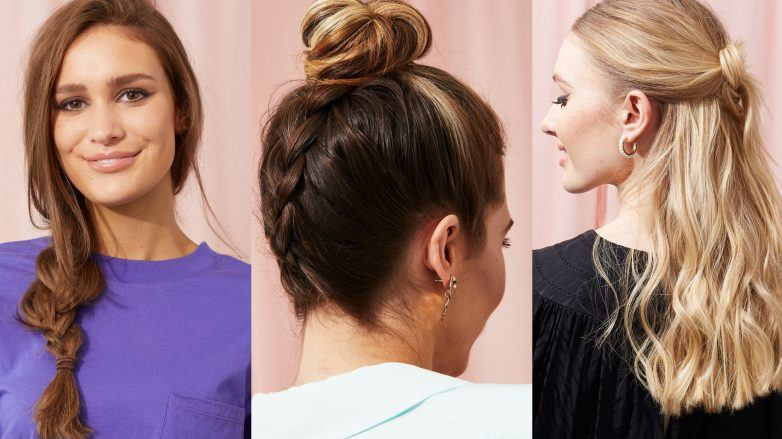 Shot of 3 easy hairstyles