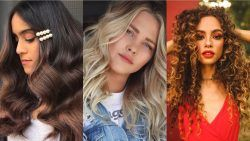 Woman with long dark brunette balayage hair with clips, woman with wavy ash blonde hair and woman with curly brown long hair with highlights