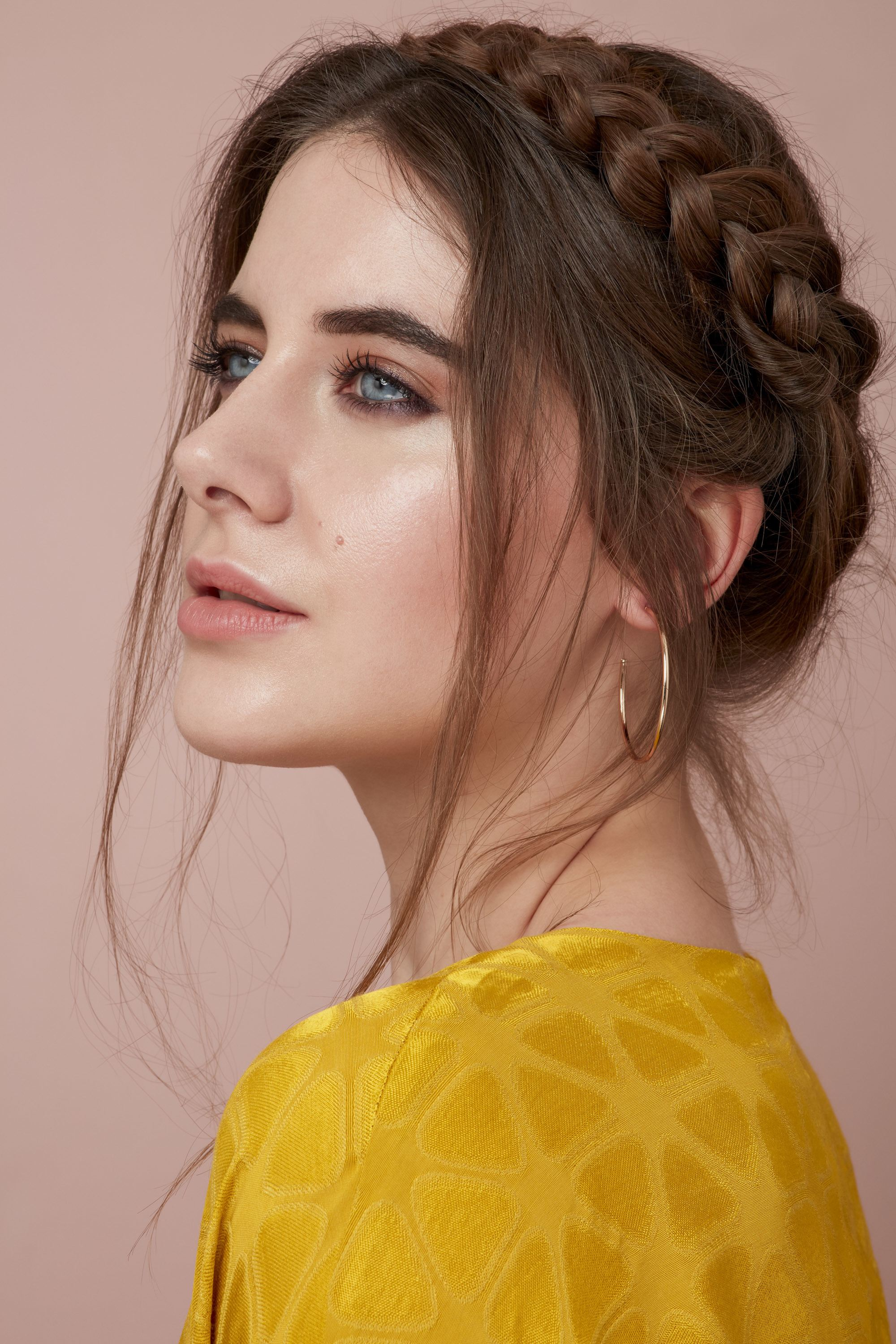 Halo milkmaid braid on brown hair