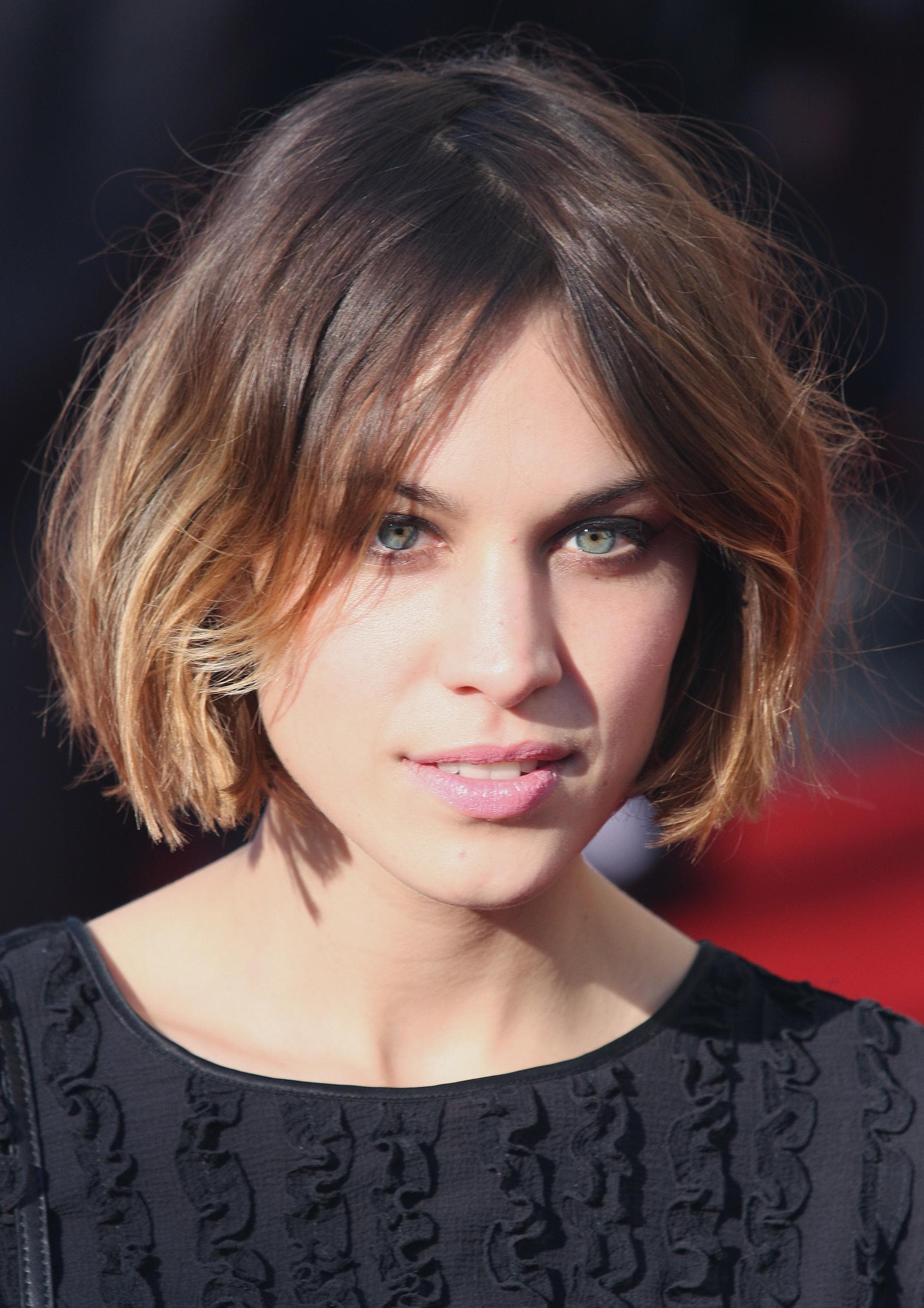 Alexa Chung with a light brown ombre wavy bob