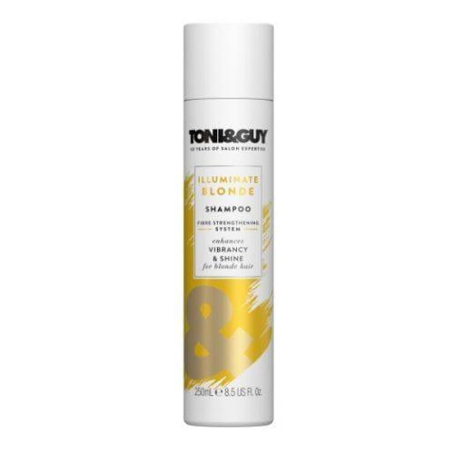 pack shot of the TONI&GUY Illuminate Blonde Shampoo