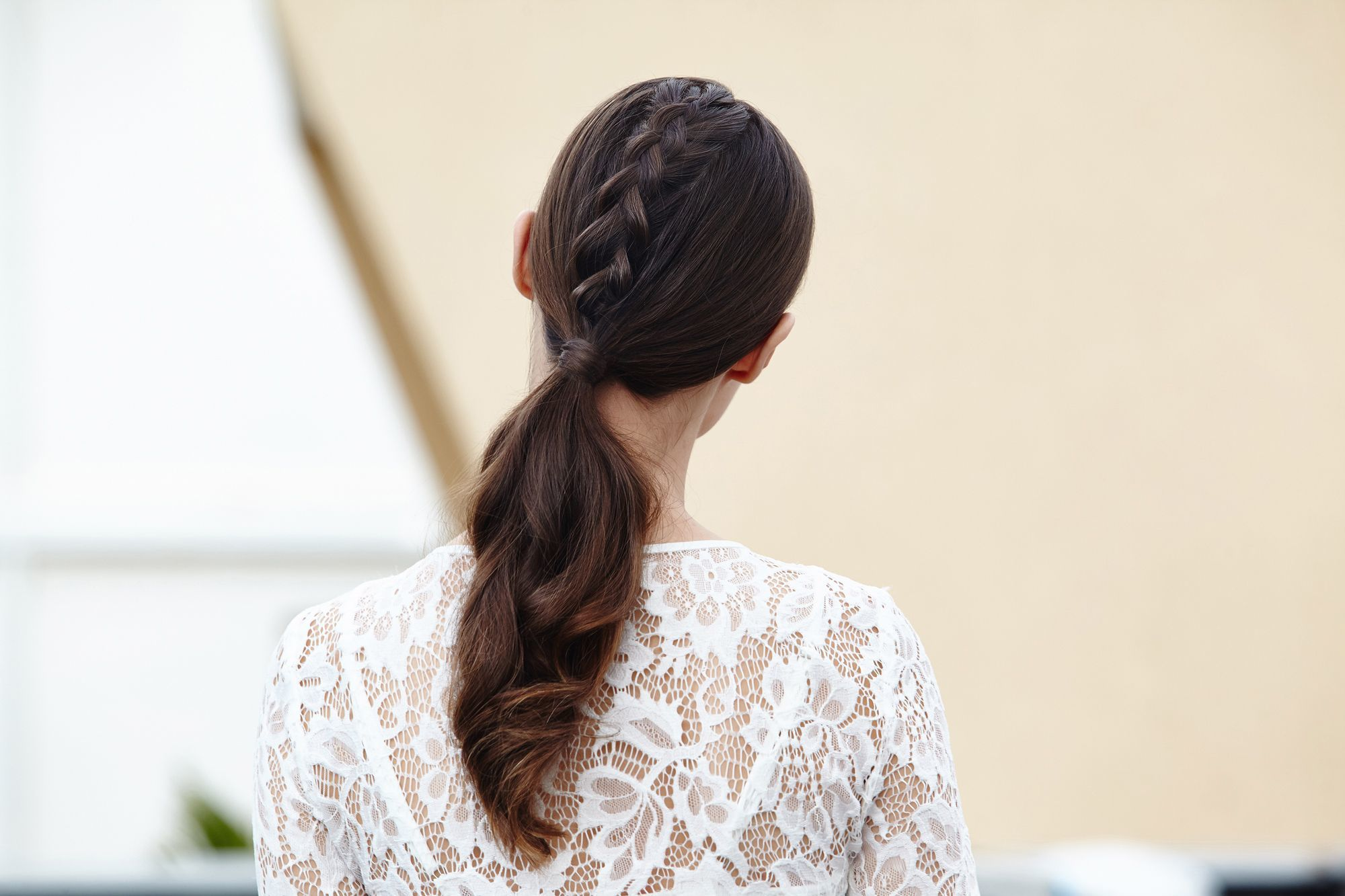 Brunette with unicorn braid ponytail