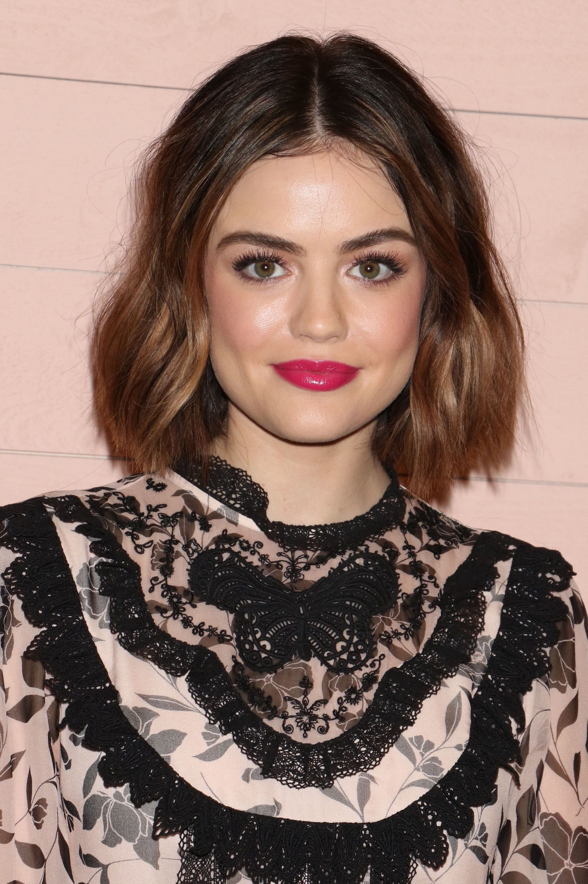 Lucy Hale with a brunette wavy bob