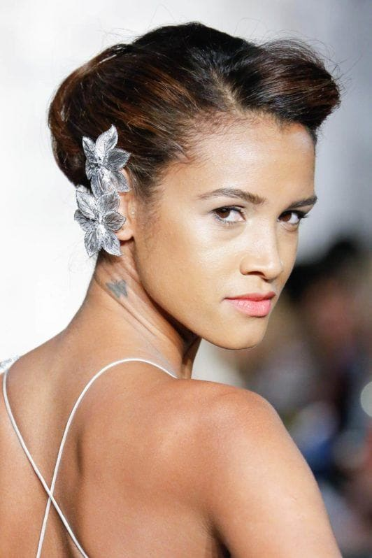 woman with retro wedding hairstyle on relaxed hair