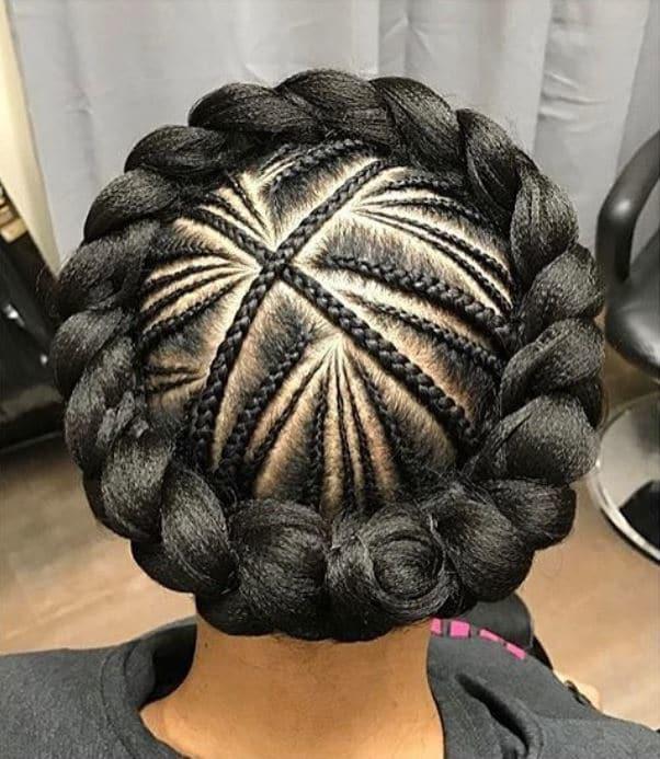 Woman with cornrow crown braid