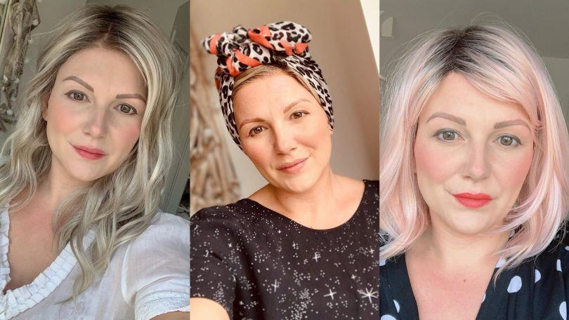 Three photos of alopecia sufferer Jo Tucker with different wigs