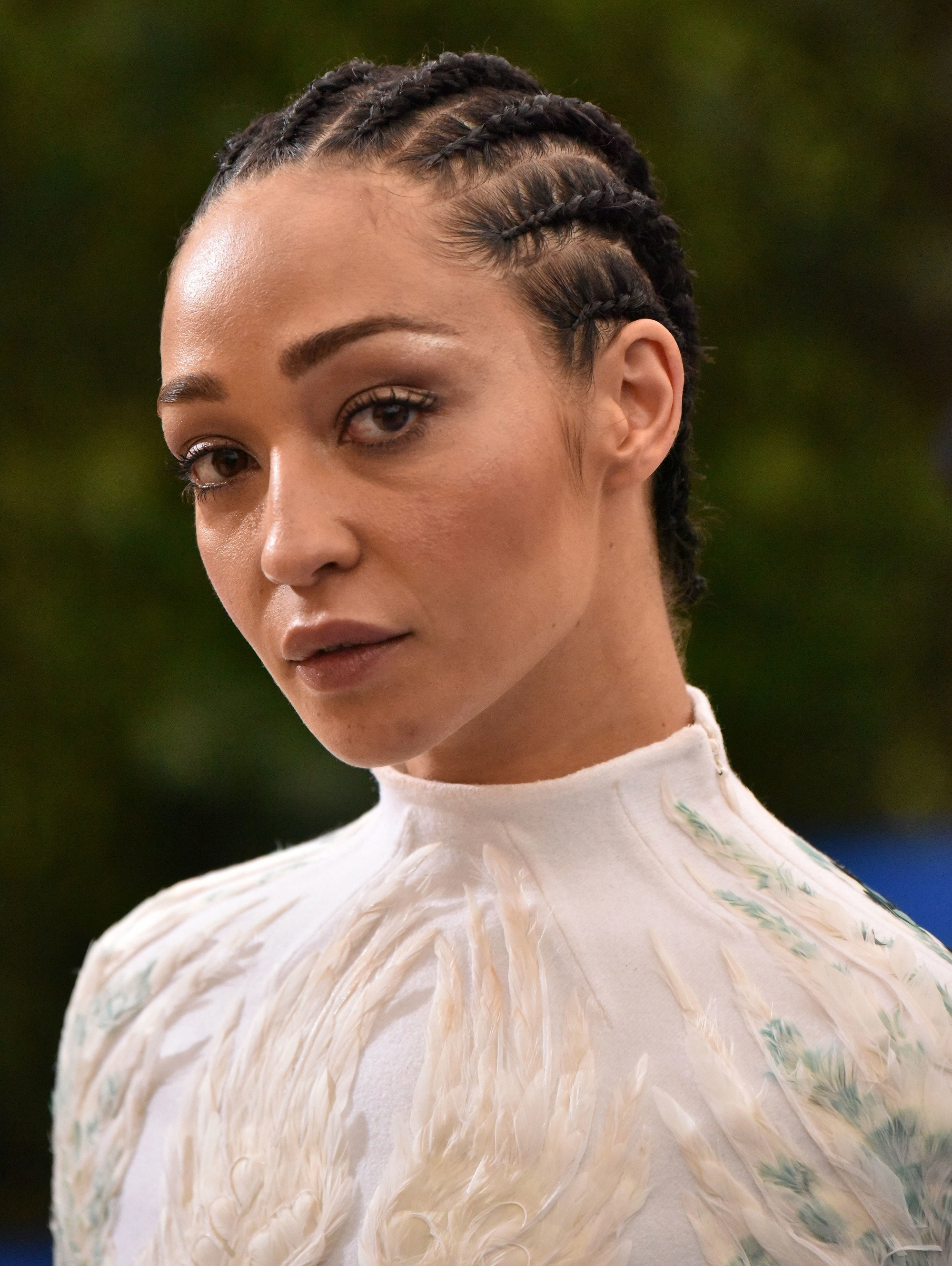 Ruth Negga with cornrows in an updo