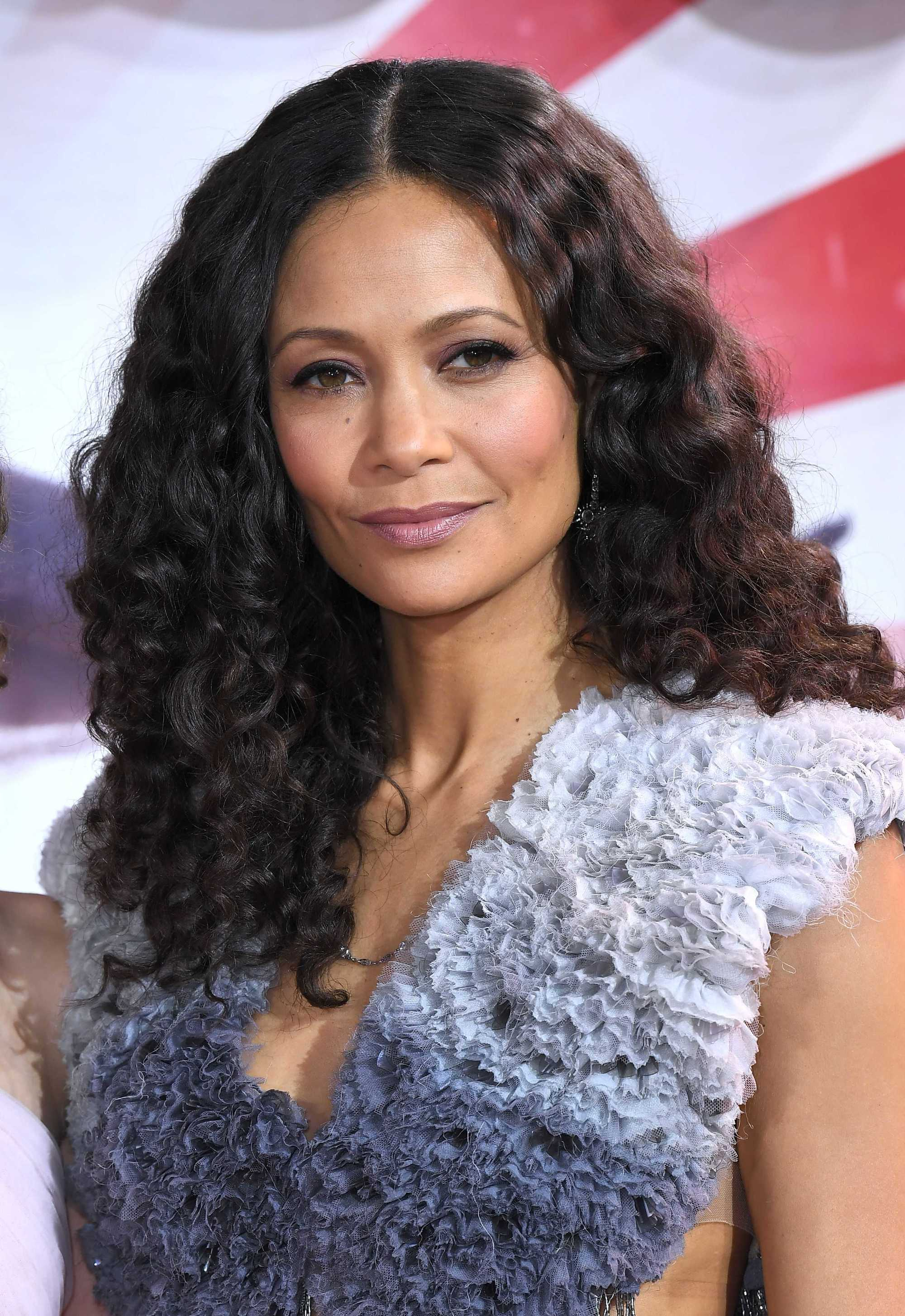 Thandie Newton with big, voluminous dark brown curls