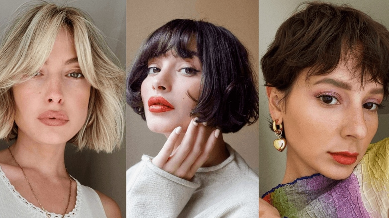 Women with short hair and different fringe hairstyles