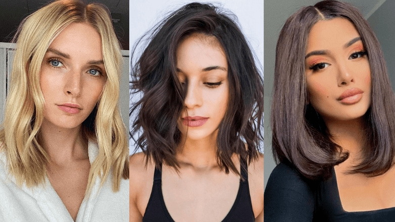 Woman with different long bob haircuts