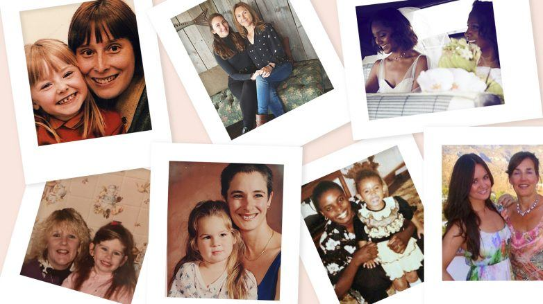 collage of mothers and daughters