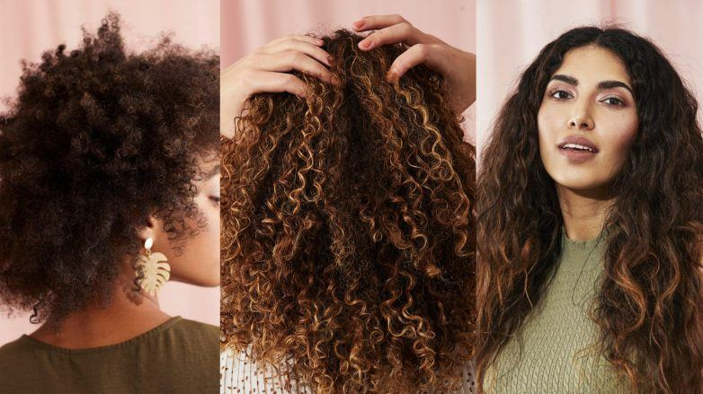 Curly hair types guide: Woman with three different curly hair types