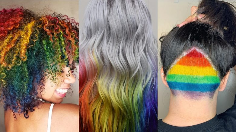 Collage of three rainbow hair looks for Pride