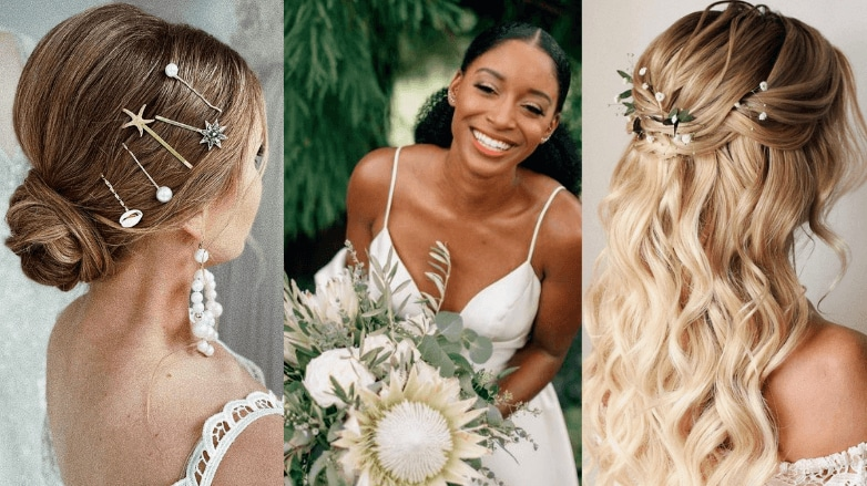 Women with different wedding hairstyles