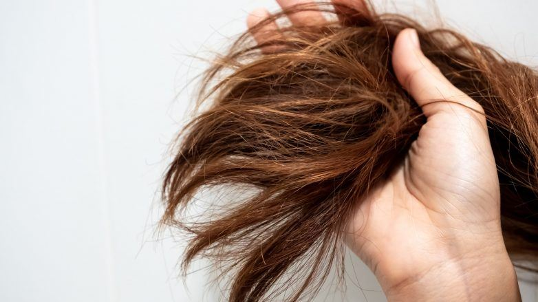 Woman holding her coarse, damaged hair in her hands