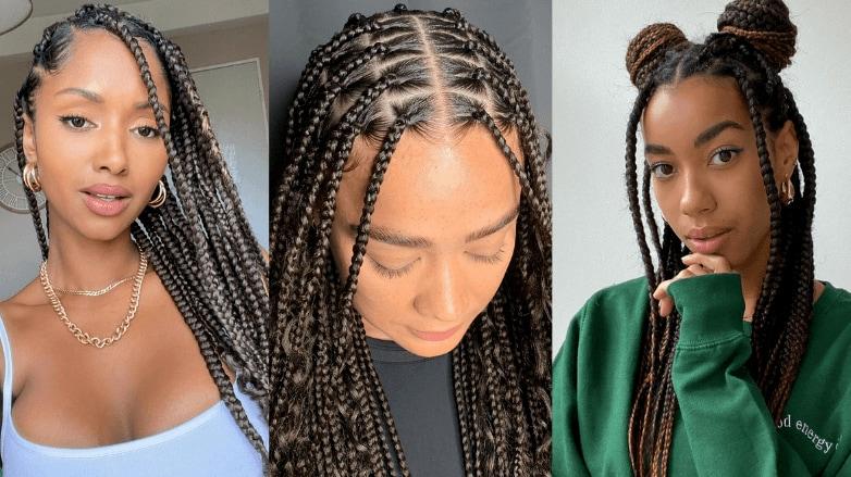 Women wearing knotless braids hairstyles
