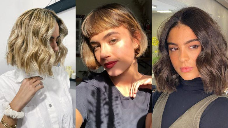 Collage of three women with different bob hairstyles